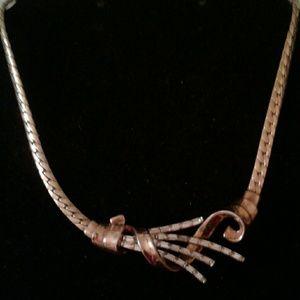 Vintage Gold Trifari PAT PEND Rhinestone Necklace